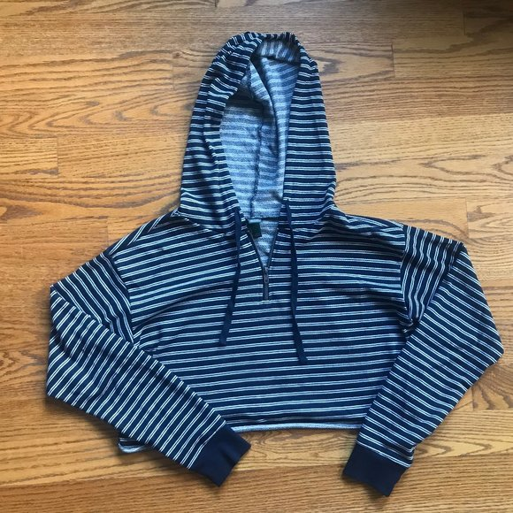 wild fable Tops - Navy Striped + Cropped Hoodie